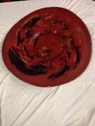 35x33w Signed Hand Blown Glass Wall Plate / Red And Black