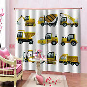 Yellow Forklift Crane Purity Printing 3d Blockout Curtains Fabric Window
