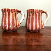 Richie Watts Good Earth Pottery 2 Curved Mugs 4 Bird Of Paradise Handle 2003 Ms
