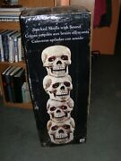Giant Stacked Skulls With Led Eyes And Sound - 40 Inches, Halloween Prop
