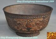 Old Chinese Palace Dynasty Purple Bronze Animal Dragon Statue Tea Cup Bowl Bowls