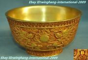 Old Chinese Dynasty Purple Bronze 24k Gold Gilt Dragon Statue Tea Cup Bowl Bowls