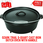 Ozark Trail 5-quart Cast Iron Dutch Oven With Handle, Stainless Steel Handle