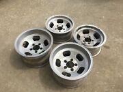 """1970's Aluminum Slot Mags Rims Wheels 15"""" Rears 14"""" Fronts Set Of Four"""