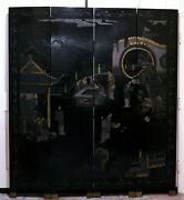 Guc+ Maitland-smith Asian Imperial Garden Scene 4panel Room Divider 72h X 64w