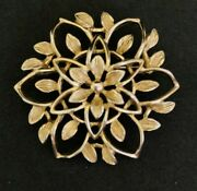 Vintage Sarah Coventry Gold Tone Flower Floral Brooch Peta Lure
