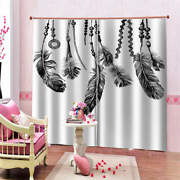 Chain Grey Pure Peace Feather Mind Printing 3d Blockout Curtains Fabric Window