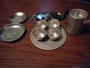 Vintage 70andrsquos Lot Childand039s Aluminum Tin Play Kitchen Cookware Dish Cups Pans Plate