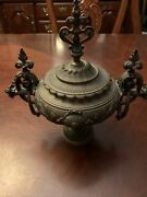 Very Ornate Antique Neo Classical Solid Bronze 2 Handled Urn Planter Vessel Lid