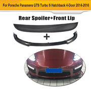 For Porsche Panamera 14-16 Rear Trunk Spoiler Wing Front Bumper Lip Carbon Fiber
