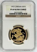 1993 Gold Great Britain 2 Pounds Sovereign Coin Ngc Proof 69 Ultra Cameo