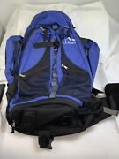 Ll Bean Blue And Black Backpack Day Pack Canvas Hiking Outdoors Travel -large Size