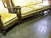 Antique Couch Chair Set Jamestown Feudal Oak Rare Vintage She Shed Man Cave Glam
