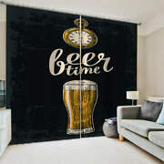 Glass Bottle Beer Brown Pocket Watch Printing 3d Blockout Curtains Fabric Window