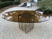 Pierre Cardin Brass And Chrome Grid Dining Table With Original Smoked Glass Top
