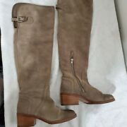 Coach Women's Taupe Palmera Suede Over The Knee Leather Boots Stack Heel Size 7