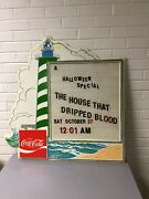 """Vintage Coca Cola Coke Lighthouse Beach Menu Board Attwood Products 32 X 32"""""""