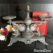 Pairpoint Antique Sweet Meat Serving Cherub Silver Plated Cherubs On Turtles