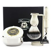 Menand039s Grooming Shaving Kit With Manual Safety Razor And Barber Brush Ivory Color