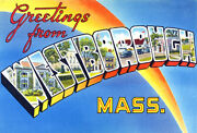 Greetings From Westborough, Massachusetts - 1930's - Vintage Postcard Poster