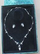 Suzanne Somers White Clear Crystal Rhinestone Post Earrings And Necklace Set And Box