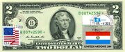 2 Dollars 2013 Star Stamp Cancel Postal Flag From Paraguay Lucky Money 500