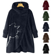 Womenand039s Button Plush Tops Hooded Loose Cardigan Wool Coat Winter Jacket Outwear