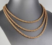 Vintage Solid 9ct Gold Square Byzantine Link Design Chain Necklace 51 1/4 Inches