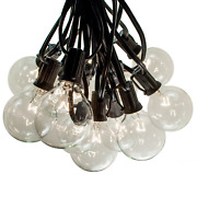 G50 Clear 2 Inch Globe String Lights Black Wire For Outdoor Patio, Cafe, Yard