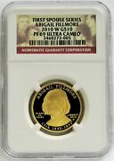 2010 W Gold 10 Abigail Fillmore 1/2oz Proof Spouse 6130 Minted Ngc Pf 69 Uc