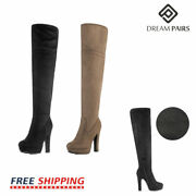 Dream Pairs Womenand039s Thigh High Chunky Heel Platform Over The Knee Boots