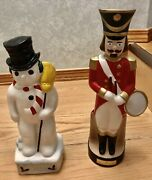 """Jim Beam And Mount Hope Collection Of """"soldier"""" Snowman"""" Rare Decanters Ceramic"""