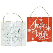 Christmas Sign Wall Decor Rustic Wood Let It Snow Jingle All The Way New