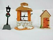 Lefton Lot Of 3 Christmas Street Light Wishing Well Outhouse Colonial Village