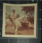 Shirtless Cowboy 1960and039s White Horse Man Vintage Gay Int Color Snapshot Photo