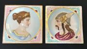 845-antique European Mosaique Of Viking And His Wife