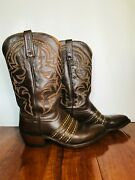 Vintage 1883 By Lucchese Brown Leather Western Cowboy Boots Size 8 2e Excellent