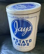 Vintage 1970's Jays Potato Chip Tin Can Chicago Il Antique Smooth Bottom
