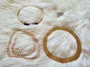 Monet Costume Jewelry Choker Necklace, Japan Faux Pearl And Earrings Lot Euc