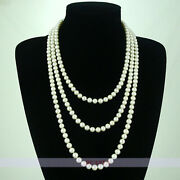 Genuine Long 7.5mm Freshwater White Pearl Necklace 68