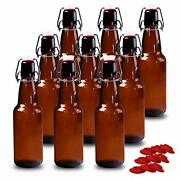 12 Oz Amber Glass Beer Bottles For Home Brewing With Flip Caps, Case Of 9