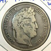 🔥 1841 W 🔥 France Lille 5 Francs Louis Philippe ✨ Silver Crown Coin 💎 Km 749