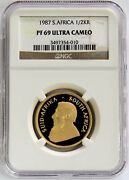 1987 Gold South Africa 1/2 Oz Krugerrand Proof Coin Ngc Pf 69 Ultra Cameo