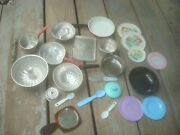 Vintage Lot Of Metal And Plastic Toy Dishes Plates, Pots, Pans Silverware Kids