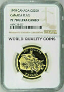 1990 Canada Gold Proof Coin 200 Silver Jubilee Of The Canadian Flag Ngc Pf70