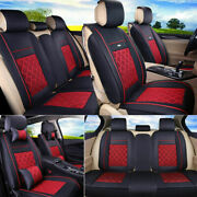 Pu Leather And Ice Silk Car Suv 5-seat Chair Covers Universal Auto Decor Cushions