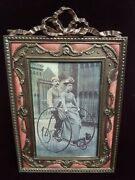 Divine French Gilt Bronze Ormolu And Pink Guilloche Enamel Picture Photo Frame