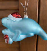 Adorable Tropical Manatee And Baby Wearing Santa Hat Ornament New