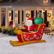Santa Sleigh Inflatable Outdoor Christmas Yard Lighted Decoration 7 Ft Long