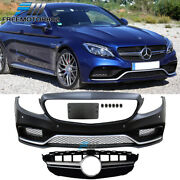 Fits 15-18 Benz W205 C-class C63 Amg Front Bumper Guards W/ Upper Grille Silver